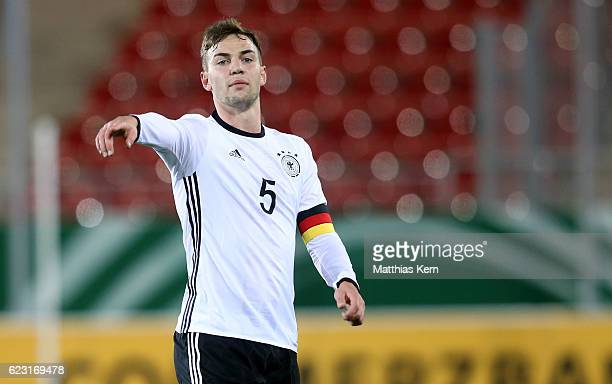 Benedikt Gimber of Germany gestures during the U20 international friendly match between Germany and Poland at Stadion Zwickau on November 14 2016 in...