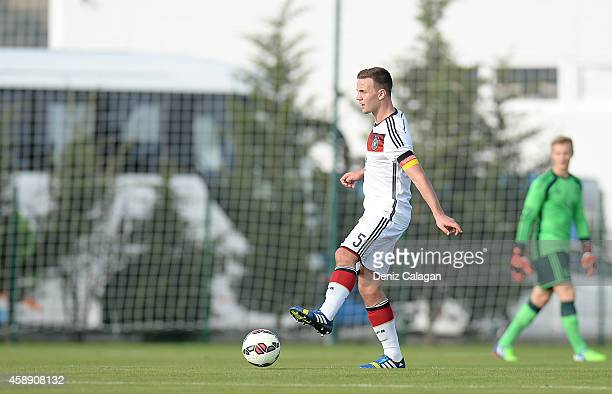 Benedikt Gimber of Germany handles the ball during the international friendly match between U18 Germany and U18 Netherlands on November 13 2014 in...