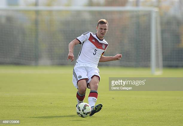 Benedikt Gimber of Germany handles the ball during the international friendly match between U18 Germany and U18 Turkey on November 17 2014 in Side...
