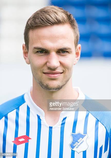 Benedikt Gimber poses during the team presentation of 1899 Hoffenheim at Wirsol RheinNeckarArena on July 14 2015 in Sinsheim Germany