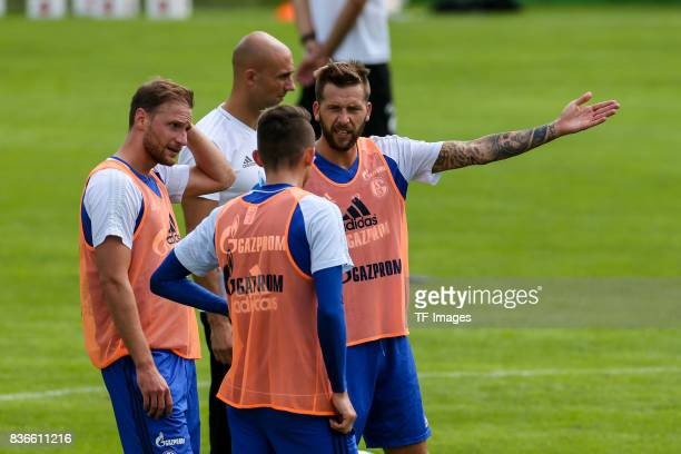 Benedikt Hoewedes Guido Burgstaller of Schalke and Fabian Reese of Schalke during the Training Camp of FC Schalke 04 on July 27 2017 in Mittersill...