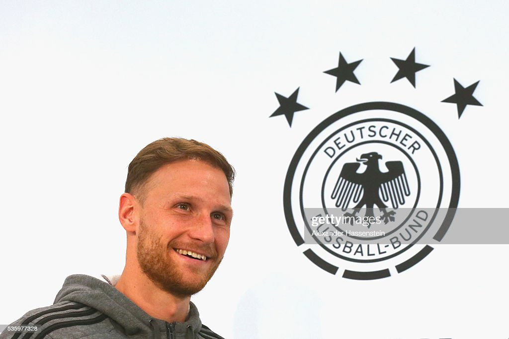 <a gi-track='captionPersonalityLinkClicked' href=/galleries/search?phrase=Benedikt+Hoewedes&family=editorial&specificpeople=3945465 ng-click='$event.stopPropagation()'>Benedikt Hoewedes</a> of Germany arrives for a press conference on day 8 of the German national team trainings camp on May 31, 2016 in Ascona, Switzerland.