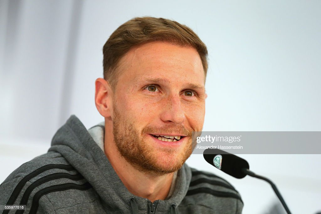 <a gi-track='captionPersonalityLinkClicked' href=/galleries/search?phrase=Benedikt+Hoewedes&family=editorial&specificpeople=3945465 ng-click='$event.stopPropagation()'>Benedikt Hoewedes</a> of Germany talksnto the media during a press conference on day 8 of the German national team trainings camp on May 31, 2016 in Ascona, Switzerland.
