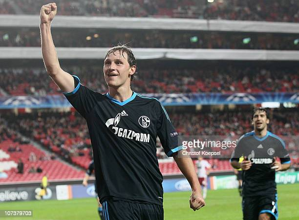 Benedikt Hoewedes of Schalke celebrates the second goal during the UEFA Champions League group B match between Benfica Lisbon and FC Schalke 04 at...