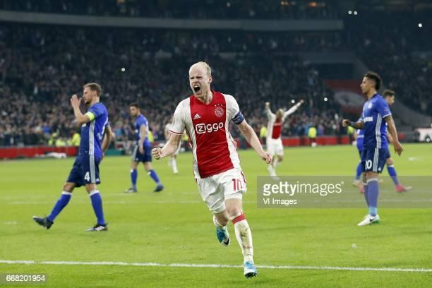 Benedikt Howedes of FC Schalke 04 Davy Klaassen of Ajax Thilo Kehrer of FC Schalke 04during the UEFA Europa League quarter final match between Ajax...