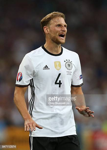 Benedikt Howedes of Germany looks on during the UEFA Euro 2016 Semi Final match between Germany and France at Stade Velodrome on July 07 2016 in...