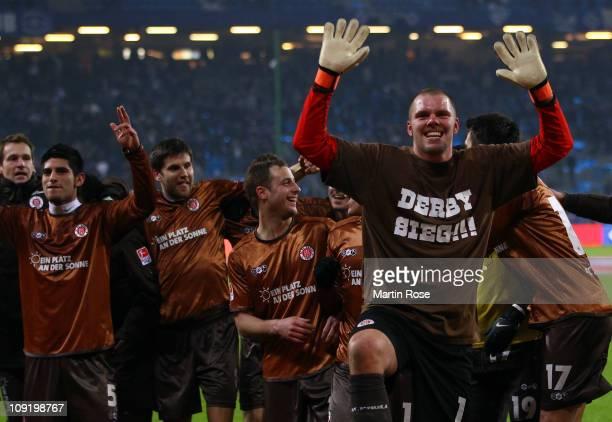 Benedikt Pliquett goalkeeper of StPauli celebrates after the Bundesliga match between Hamburger SV and FC StPauli at Imtech Arena on February 16 2011...