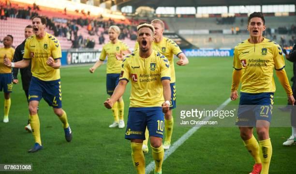 Benedikt Röcker of Brondby IF Hany Mukhtar of Brondby IF and Svenn Crone of Brondby IF celebrate after the Danish Cup DBU Pokalen semifinal match...