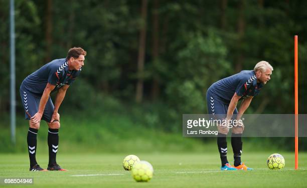 Benedikt Rocker and Johan Larsson looking tired during the Brondby IF training session at Brondby Stadion on June 20 2017 in Brondby Denmark