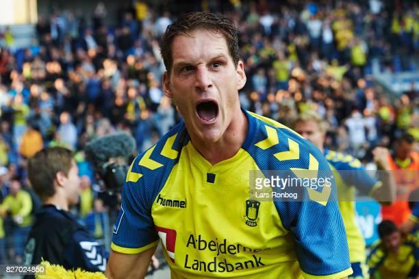 Benedikt Rocker of Brondby IF celebrates after scoring their first goal during the Danish Alka Superliga match between Brondby IF and FC Copenhagen...