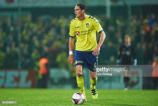 Benedikt Rocker of Brondby IF controls the ball during the Danish Alka Superliga match match between Sonderjyske and Brondby IF at Sydbank Park on...