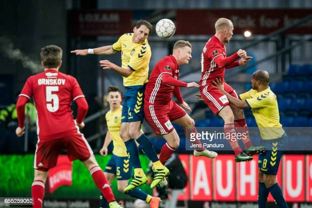 Benedikt Rocker of Brondby IF heads to the ball the Danish Alka Superliga match between Brondby IF and Lyngby BK at Brondby Stadion on March 19 2017...