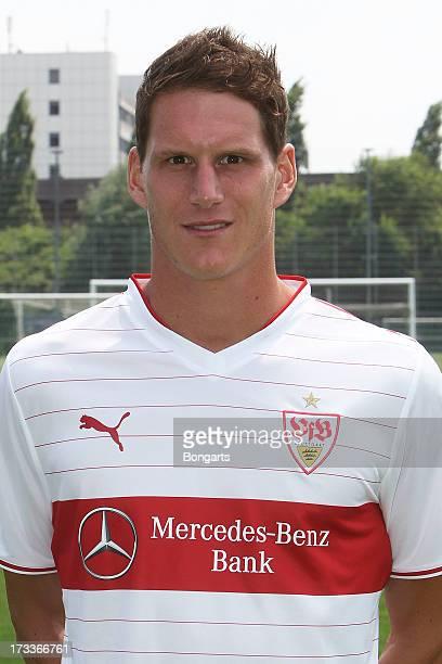 Benedikt Roecker poses during the VfB Stuttgart team presentation on July 10 2013 in Stuttgart Germany