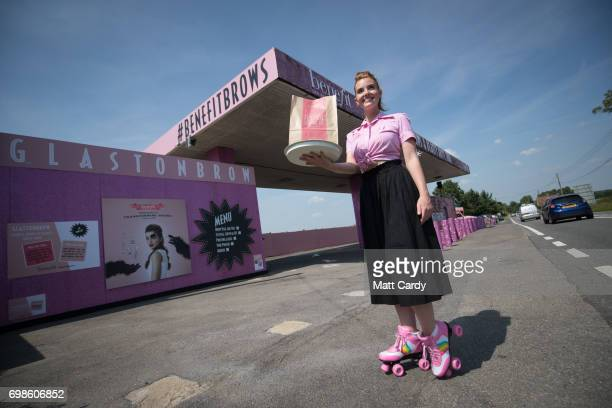 Benefit Cosmetics launches 'GlastonBrow' an onthego brows and beauty destination for festivalfanatics en route to Glastonbury 2017 on June 20 2017 in...