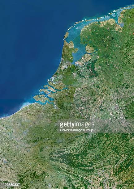 Benelux region Satellite image of the Benelux region of Europe North is at top Water is blue vegetation is green urban areas are grey and the shallow...