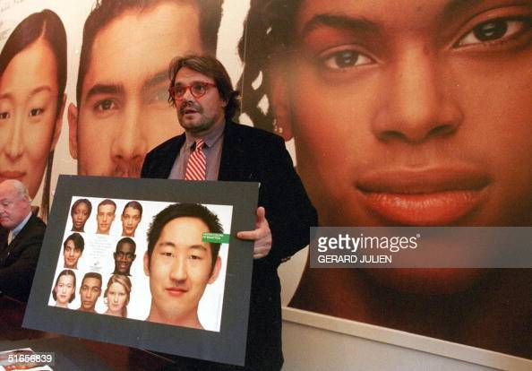 Benetton's photographer Oliviero Toscani displays 13 March in Rome the group's new international advertising campaign inspired by the 50th...