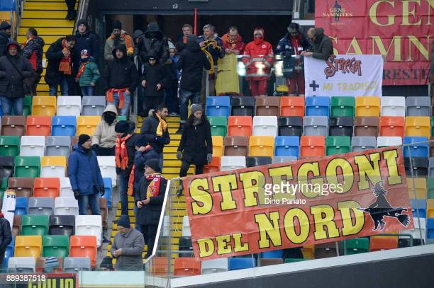 Benevento fans shows their support during the Serie A match between Udinese Calcio and Benevento Calcio at Stadio Friuli on December 10 2017 in Udine...