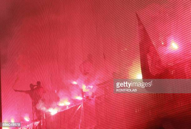 STADIUM BENEVENTO CAMPANIA ITALY Benevento's fans light flares celebrate the promotion in Serie A the first Italian football league at the end of the...