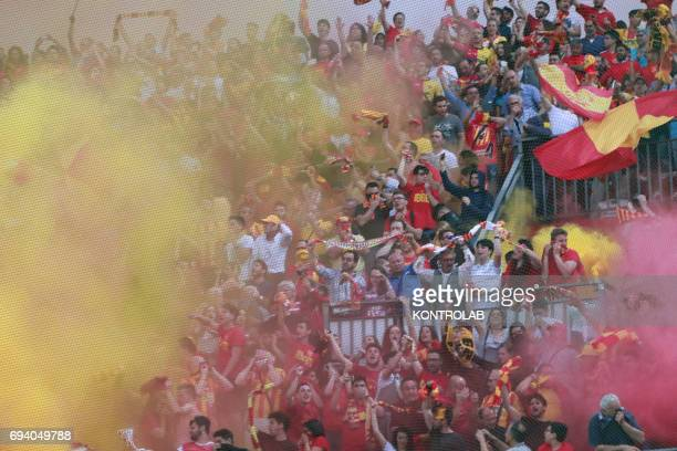 STADIUM BENEVENTO CAMPANIA ITALY Benevento's fans light flares during the Italian Serie B Play Off football match for the promotion in Serie A...