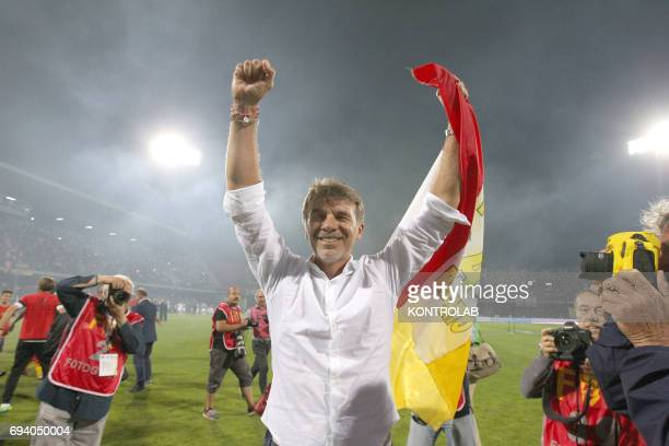 STADIUM BENEVENTO CAMPANIA ITALY Benevento's Italian coach Marco Baroni celebrates the promotion in Serie A the first Italian football league at the...