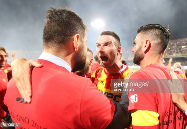 STADIUM BENEVENTO CAMPANIA ITALY Benevento's Italian defender Fabio Lucioni celebrate the promotion in Serie A the first Italian football league at...