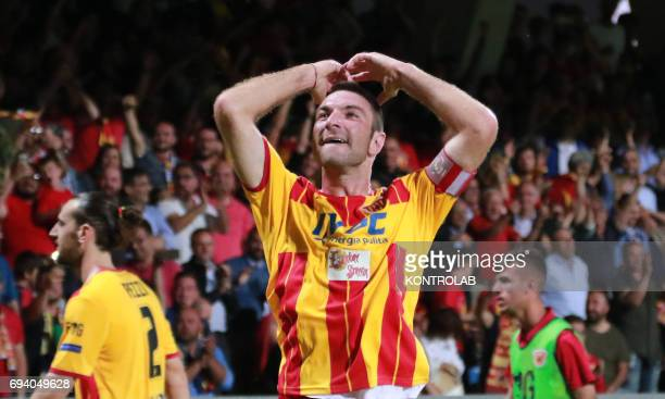 STADIUM BENEVENTO CAMPANIA ITALY Benevento's Italian defender Fabio Lucioni celebrates during the Italian Serie B Play Off football match for the...