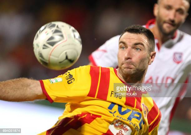 STADIUM BENEVENTO CAMPANIA ITALY Benevento's Italian defender Fabio Lucioni controls the ball during the Italian Serie B Play Off football match for...