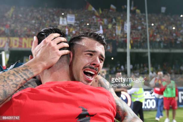 STADIUM BENEVENTO CAMPANIA ITALY Benevento's Italian defender Lorenzo Venuti celebrates the promotion in Serie A the first Italian football league at...