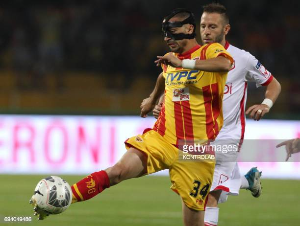 STADIUM BENEVENTO CAMPANIA ITALY Benevento's Italian midfielder Mirko Eramo fights for the ball with Carpi's Italian forward Antonio Di Gaudio during...