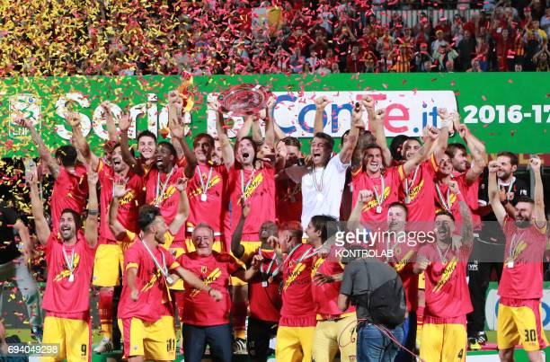 STADIUM BENEVENTO CAMPANIA ITALY Benevento's players celebrate the promotion in Serie A the first Italian football league at the end of the Italian...