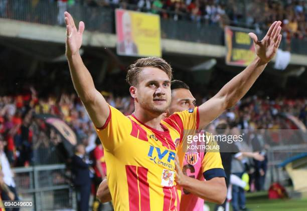 STADIUM BENEVENTO CAMPANIA ITALY Benevento's Romanian forward George Puscas celebrates after scoring with teammates during the Italian Serie B Play...