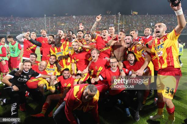 STADIUM BENEVENTO CAMPANIA ITALY Benevento'splayers celebrate the promotion in Serie A the first Italian football league at the end of the Italian...