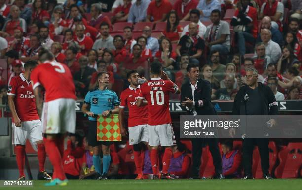 Benfica coach Rui Vitoria from Portugal in action during the Primeira Liga match between SL Benfica and CD Feirense at Estadio da Luz on October 27...