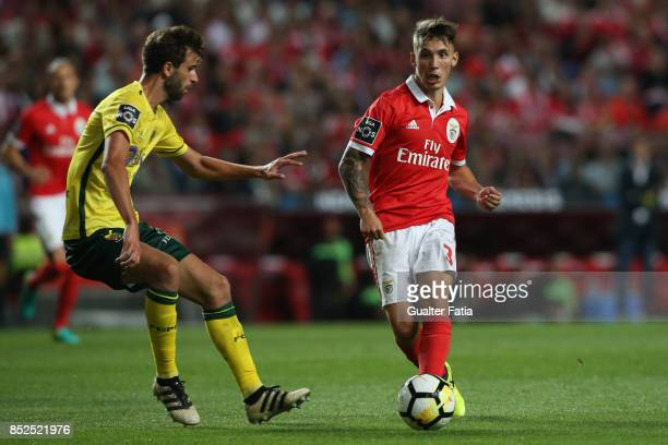 Benfica defender Alejandro Grimaldo from Spain with FC Pacos de Ferreira defender Rui Correia from Portugal in action during the Primeira Liga match...