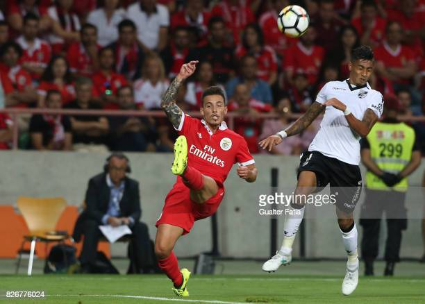 Benfica defender Alejandro Grimaldo from Spain with Vitoria Guimaraes forward Raphinha from Brasil in action during the SuperTaca match between SL...