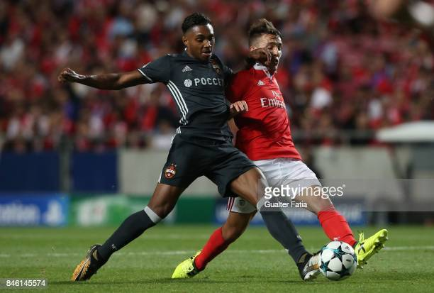 Benfica defender Alejandro Grimaldo with CSKA Moskva forward Vitinho in action during the UEFA Champions League match between SL Benfica and CSKA...