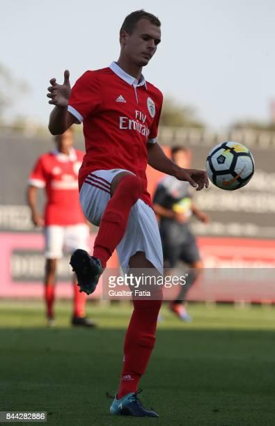 Benfica defender Branimir Kalaica from Croacia in action during the Segunda Liga match between SL Benfica B and Real SC at Caixa Futebol Campus on...