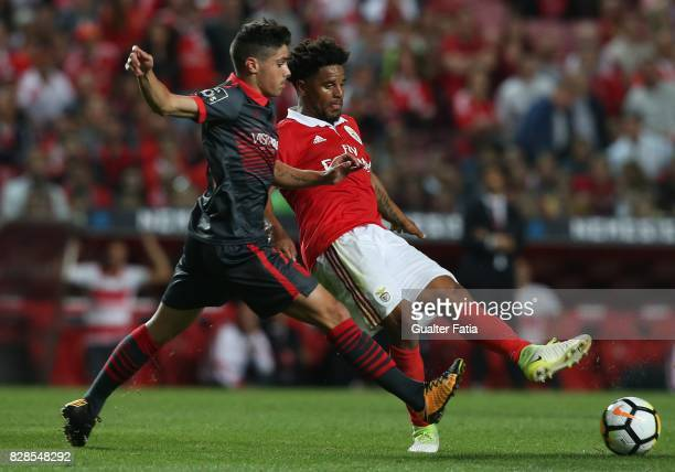 Benfica defender Eliseu from Portugal with SC Braga forward Pedro Neto from Portugal in action during the Primeira Liga match between SL Benfica and...