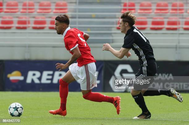 Benfica defender Ricardo Araujo with Manchester United FC midfielder Indy Boonen in action during the UEFA Youth League match between SL Benfica and...