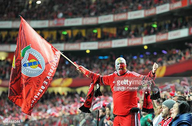 Benfica fan cheers on his team during the UEFA Europa League Semi Final first leg match between SL Benfica andJuventus at Estadio da Luz on April 24...