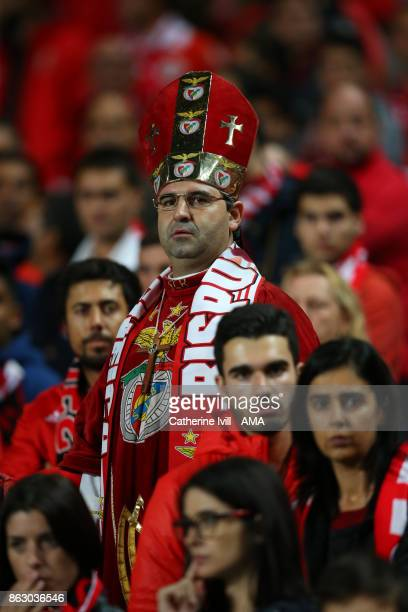 Benfica fan dressed as a member of the church wearing a mitre during the UEFA Champions League group A match between SL Benfica and Manchester United...