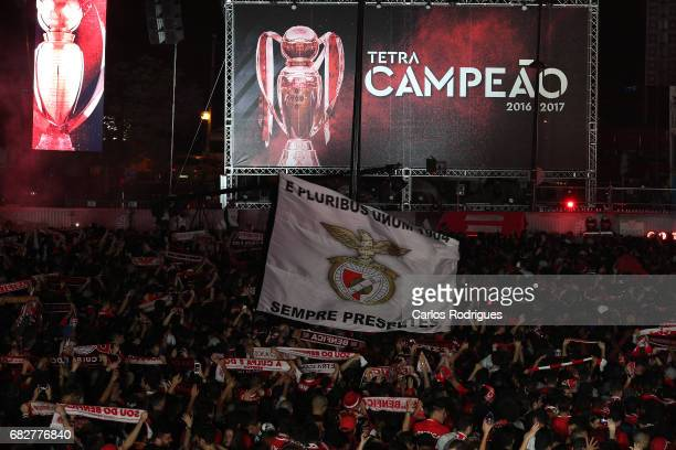 Benfica Fans Celebrate Winning the League Title after the match between SL Benfica and Vitoria SC for the Portuguese Primeira Liga at Marques de...