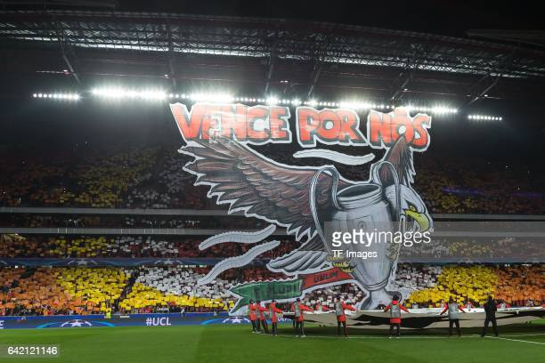 Benfica fans display a giant banner ahead of the UEFA Champions League Round of 16 First Leg match between SL Benfica and Borussia Dortmund at...