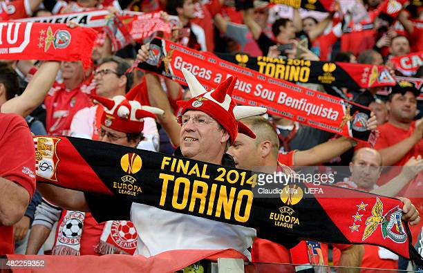 Benfica fans show their support during the UEFA Europa League Final between Sevilla FC and SL Benfica at Juventus Arena on May 13 2014 in Turin Italy
