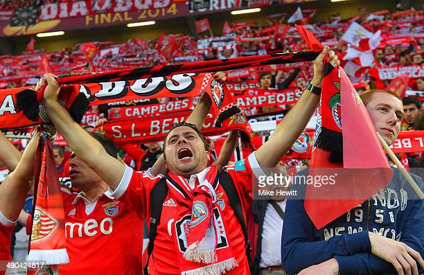 Benfica fans sing and hold up their scarves in the stands prior to the UEFA Europa League Final match between Sevilla FC and SL Benfica at Juventus...