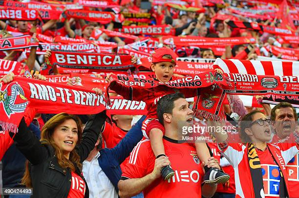 Benfica fans sing and wave flags in the stands prior to the UEFA Europa League Final match between Sevilla FC and SL Benfica at Juventus Stadium on...