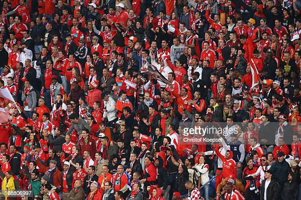 Benfica fans soak up the atmopshere during the UEFA Europa League Final between SL Benfica and Chelsea FC at Amsterdam Arena on May 15 2013 in...