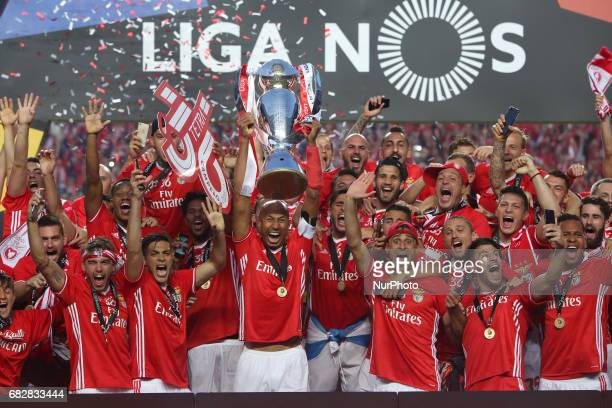 Benfica football players celebrate the 36th Portuguese football league title after the Portuguese League football match SL Benfica vs Vitoria...