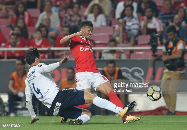 Benfica forward Diogo Goncalves from Portugal with CD Feirense defender Antonio Briseno from Mexico in action during the Primeira Liga match between...