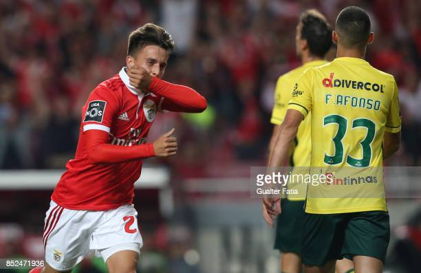 Benfica forward Franco Cervi from Argentina celebrates after scoring a goal during the Primeira Liga match between SL Benfica and FC Pacos de...